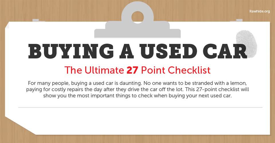 Buying a Used Car?  Here's a 27 Point Checklist to Help You Make an Informed Decision