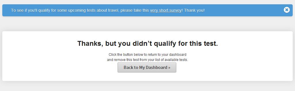 user testing didnt qualify