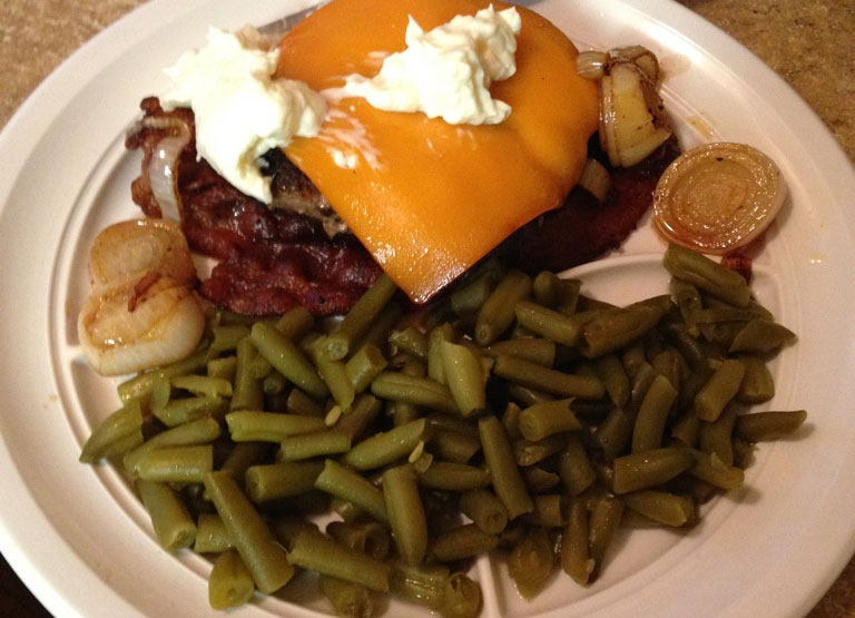 Keto bacon burger green beans