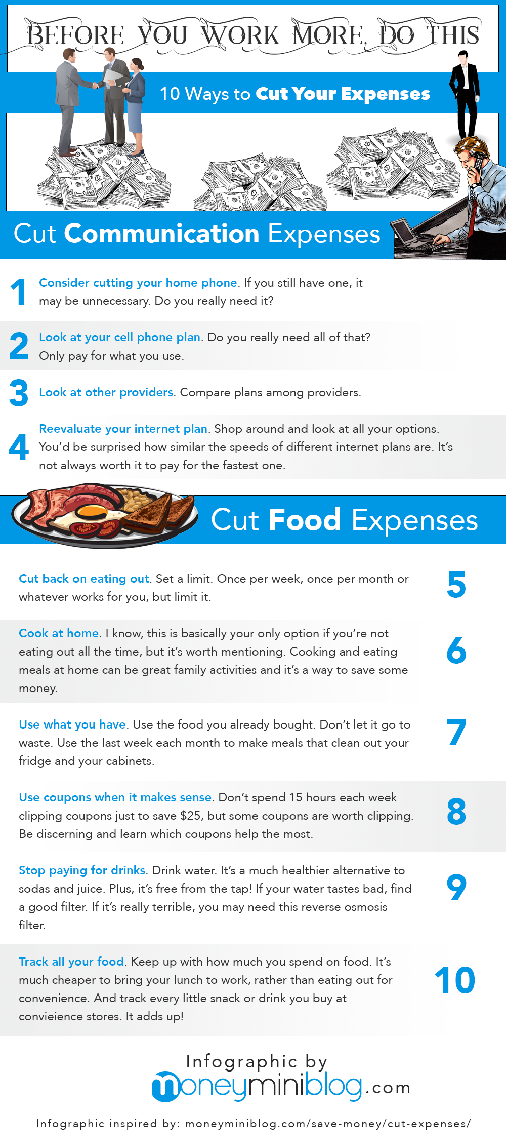 save money cut expenses infographic